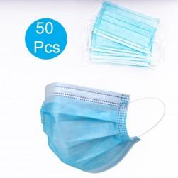 Boîte de 50 Masques jetables 3 plis avec barrette nasale métallique