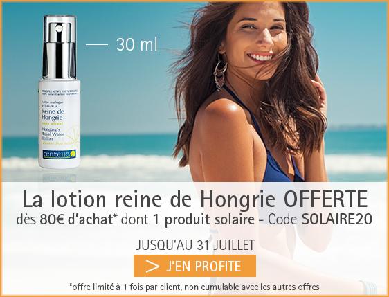 Offre solaire 1 reine de hongrie 30 ml offerte dès 80€ d'achat